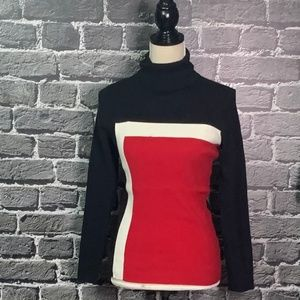 Style Co Red Black Color Block Ribbed Turtleneck M